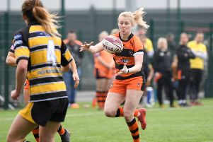 Tara Stanley on the attack for Castleford Tigers Women against York. Picture: Melanie Allatt