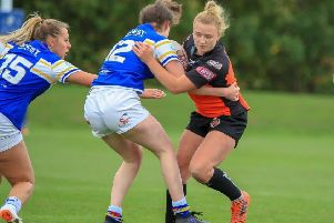 Georgia Roche, who scored the first of Castleford Tigers' tries against D�esses Catalanes.