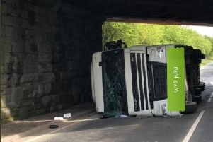 The lorry attempted to fit under a low bridge. Picture: West Yorkshire Police Roads Policing Unit.