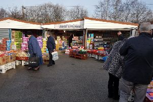 Shoppers peruse South Elmsall Market