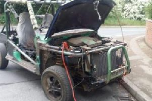 The car converted into an off-roader.