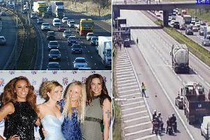 Spice Girls (Getty image) and the crash on the M62 (Highways England)
