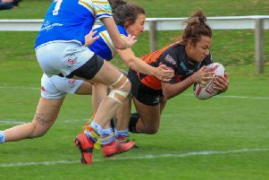 Kelsey Gentles, who completed a hat-trick of tries for Castleford Tigers Women against Bradford Bulls.