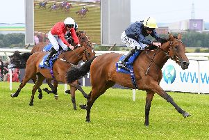 Winning start for Soffika, under top jockey Ryan Moore, who strides clear to win on his race debut at Pontefract. Picture: Alan Wright