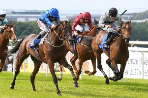 Bayshore Freeway, ridden by Franny Norton, gets up to win the big race at the last meeting, the Pontefract Castle Fillies Stakes. Picture: Alan Wright