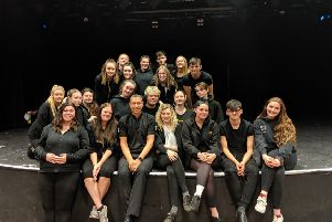 Sixth form pupils at Airedale Academy have produced a play about knife crime which will be shown to schoolchildren across Yorkshire. Pictured with Paul Hepworth.