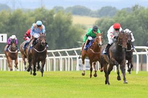 Musharrif, ridden by Zak Wheatley, goes clear to win the King Richard III Handicap at Pontefract's last meeting. Picture: Alan Wright