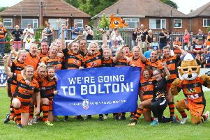 Castleford Tigers Ladies celebrate their Coral Women's Challenge Cup semi-final victory over Wakefield Trinity. PIC: Ash Allen/SWpix.com