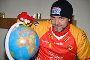 Chris Evans is that Catalan Dragons mascot when the club plays its away matches in the UK.