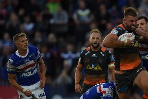 Mike McMeeken in action for Castleford Tigers at Wakefield. Picture: Matthew Merrick