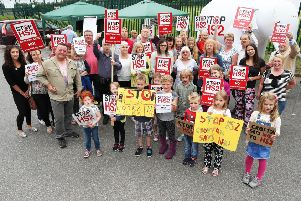 Crofton Against HS2 campaigners protesting outside Crofton Community Centre, where HS2 Ltd staff are organising an information event about the newly-proposed route.