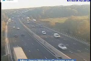 Junction 25 northbound of the M1.