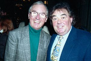 Comedian Eddie Large (right) with comedy partner Syd Little. (Photo: Getty).