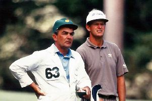 Dave Musgrove (left) and Sandy Lyle.  Picture supplied by Coxmoor Golf Club.