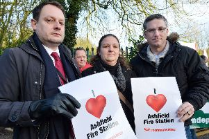 Protesters gather outside Nottinghamshire fire & rescue service HQ. Jason Zadrozny, Samantha Deakin and Matt Relf.