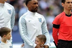 Bradley Lowery with Jermain Defoe when he was a mascot at England's World Cup qualifier held at Wembley Stadium last year.