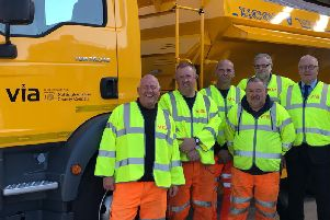 Gritter drivers Tony Brown, Mark Wardle, Andrew Hammans and Paul Davis at Gamston Highways Depot with Via East Midlands team manager, Kevin Heathcote and Nottinghamshire County Councils Communities and Place chairman, Councillor John Cottee