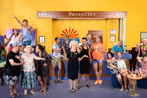 The cast assemble in the Hotel Solerno in Benidorm Live!