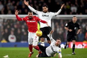Action from the Championship match between Derby County and Nottingham Forest earlier this season. (PHOTO BY: Gareth Copley/Getty Images).