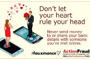 Action Fraud is warning the public to spot the signs of romance fraud on Valentine's Day.