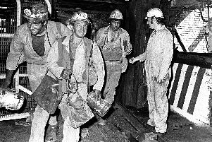 Miners at Thoresby Colliery.