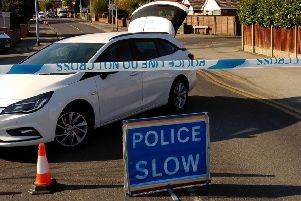 A police cordon at the scene in Mansfield Woodhouse. Picture: Anne Shelley.
