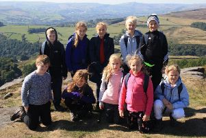 Pupils at Hathersage on Stanage Edge