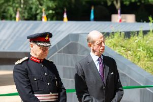 HRH the Duke of Kent (right) and Sir John Peace, Lord Lieutenant of Nottinghamshire, at the war memorial unveiling ceremony