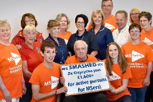 Members of the Retford MS Group who raised more than 2,600 from the triathlon.