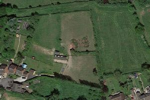 An overhead view of the site planned for 35 new homes.