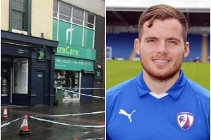 (Left) Police cordoned off an area of Market Place, Retford- picture by SWNS (Right) Footballer Jordan Sinnott, who played for Matlock Town, died in an incident in the town on Friday.