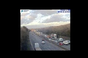 A Highways England camera shows traffic building.