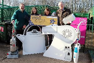 Golden-ticket hopefuls with Coun Simon Spencer at one of the county council's recycling centres.