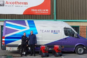 Arcotherm head of business, Jim Bush, with Team BRIT team administration manager, Kevin Harrison