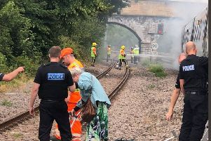 More than 170 passengers had to be evacuated between Derby and Chesterfield after a fire broke out under one of the carriages