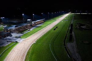 The home straight and grandstands at Southwell Racecourse, under the floodlights.