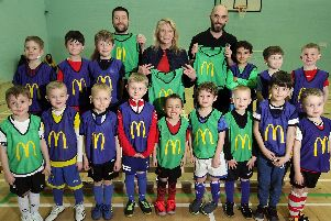 Alfreton under-6s with their new equipment, pictured with Jacqui Moore and the team's coaches.