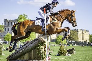 Piggy French rides Quarrycrest Echo to take the win during the ERM CIC3* Cross Country final at the 2018 GBR-Dodson and Horrell Chatsworth International Horse Trial. Photo by Libby Law.