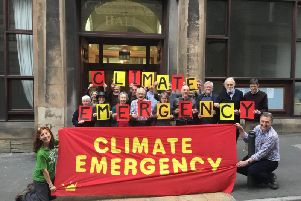 Climate change campaigners outside Derbyshire County Council's Matlock HQ.