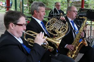 The brass section of Belper Town Wind Band got the groups 20th anniversary concert season off to a swinging start.