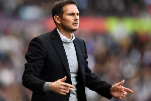 Frank Lampard watches on during the defeat to Leeds.