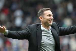Frank Lampard celebates as Derby move to within one win of the Premier League.