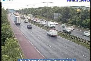 Scene from junction 24 of the M60 this morning.