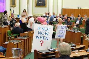 Extinction Rebellion protesters disrupt a meeting of Derbyshire County Council's full council on Wednesday.