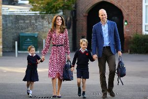 The four year old arrived at the school gates of Thomas's Battersea in west London this morning