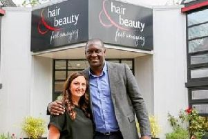 Stylist Diane Shooter with former England football Emile Heskey