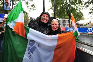 Visting cycling fans - Jerry and Ellan Murphy from Ireland on the finish line on West Park, Harrogate for the UCI Road World Championships. (Picture Gerard Binks)