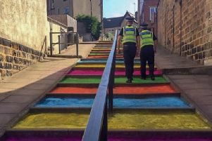 North Yorkshire Police PCSOs enjoying a colourful walk around Harrogate during the recent UCI Road World Championships.