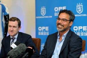 Huddersfield Town head coach David Wagner, with chairman Dean Hoyle.' Picture: Jonathan Gawthorpe.