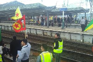 Protesters were on the train tracks at Manchester Piccadilly railway station. Picture: PA Wire.